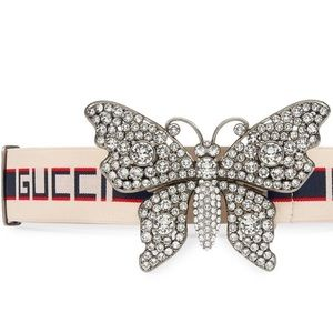 Authentic Gucci Crystal Jacquard Butterfly Belt